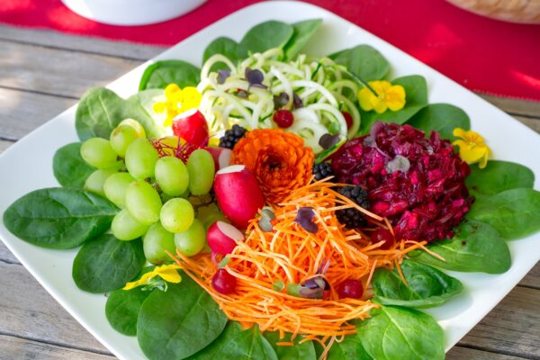 Groene residentiële seminarie met gezonde maaltijd